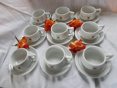 Rombouts Vintage Cups & Saucers x 9 Ideal Wedding table China