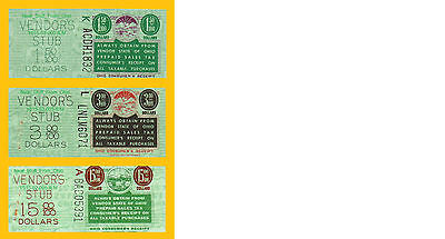 OHIO PREPAID SALES TAX STAMPS - HIGHEST DENOMINATIONS, THREE-STAMPS! Circa 1962