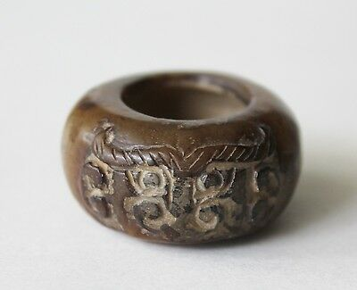 Carved Brown Jade Small Brush Washer Bowl