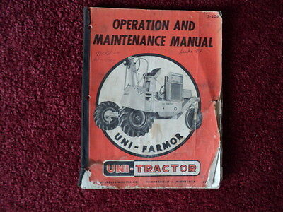 Operation and Maintenance Manual for Minneapolis Moline Uni-Tractor