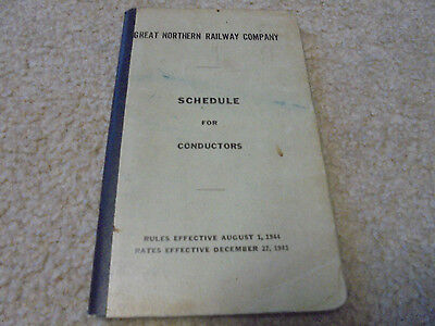 Vintage 1943 Great Northern Railway Schedule for Conductors