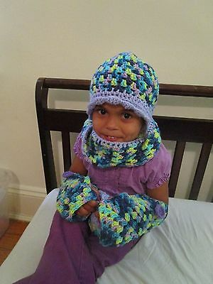 Crocheted Purple Variegated Infinity Scarf, Hat, Fingerless Gloves, and Coin Pur
