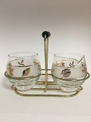 VINTAGE LIBBEYS GOLD  LEAF CREAMER AND SUGAR BOWL HOLDER CADDY SET 1960's