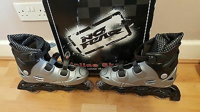 No Fear Moulded Inline Adults/Children's Skates Size 6 Silver/Black