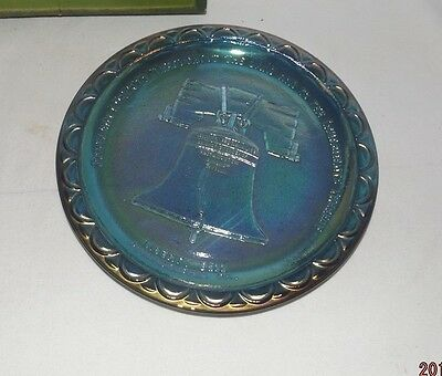 Vintage 1976 Blue Carnival Glass, Bicentennial Liberty Bell Plate With Box-VGC