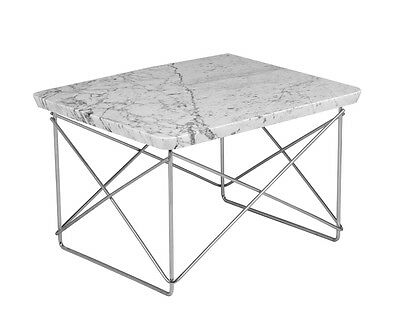 SALE! SAVE $50! Eames Style Side Coffee End Table White Marble Top Chrome Wire