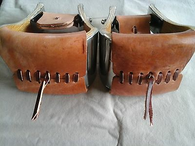 """5"""" MONEL STAINLESS BELL STIRRUPS w WEAR LEATHERS & STRINGS - USA & EXCELLENT!"""