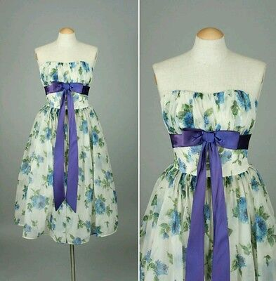 vintage 1950s dress strapless blue roses and bow party dress XS pinup bombshell