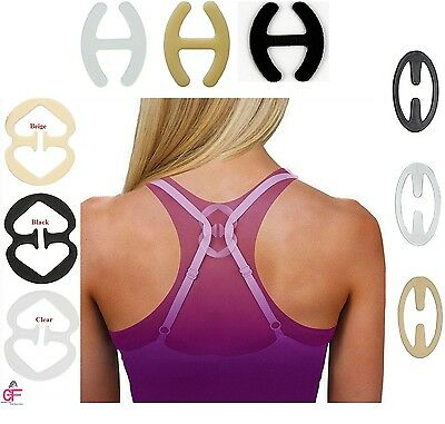 3or6- Racer back Bra Clips Black Clear Nude Strap Hide Bust Cleavage Converter