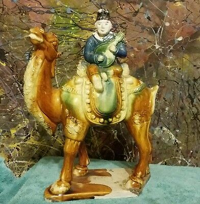 Fine Antique Chinese Man on Camel Horse Statue Sculpture SIGNED