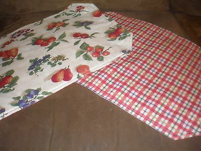 Longaberger Cherry Red Plaid Fruit Medley Reversible Placemats - Set of 2