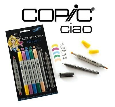 Copic Ciao 5+1 Manga Set 1 - Graphic Art Markers - 5 Markers + 0.3 Multiliner