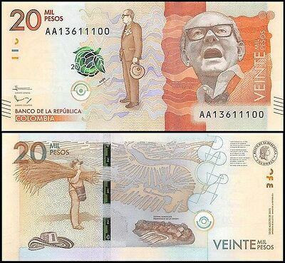 Colombia 20,000 (20000) Mil Pesos, 2015, P-NEW, UNC