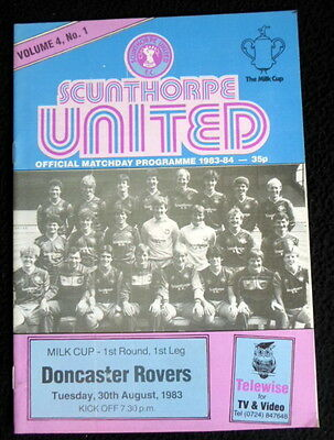 Scunthorpe United v Doncaster Rovers    milk cup round 1  30-8-1983     vgc