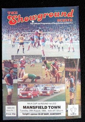 Scunthorpe United v Mansfield  Town    milk cup round 1  28-8-1984    vgc