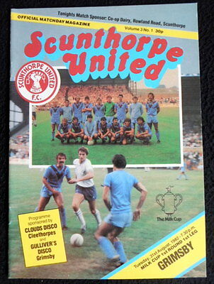 Scunthorpe United v Grimsby Town    milk cup 1st round   31-8-1982    vgc