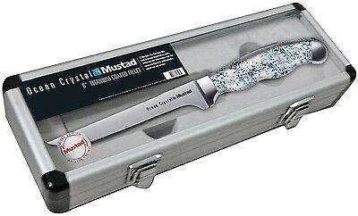 "Mustad Ocean Crystal 6"" Titanium Coated Fillet Knife with Sharpener Block & Case"