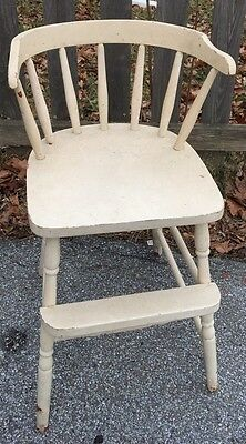 Vintage Child's High Chair Decorative Use Turned Legs White Paint