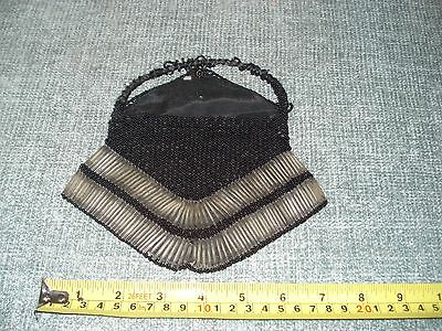 BLACK BEADED EVENING BAG CIRCA 1920's