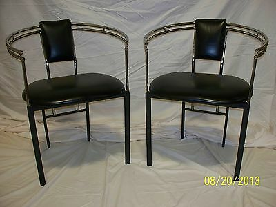 Vtg Mid Century set 2 dining / side chairs Bauhaus industrial Chrome