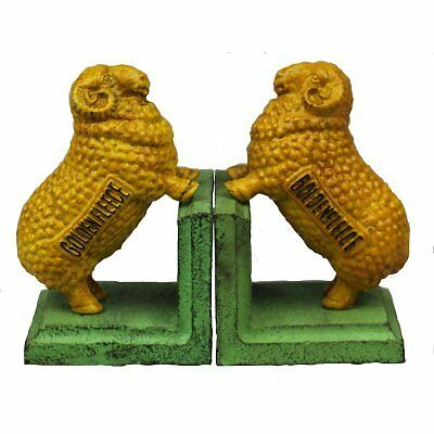 Hand Painted Cast Iron Golden Fleece Sheep Bookends - Green Base