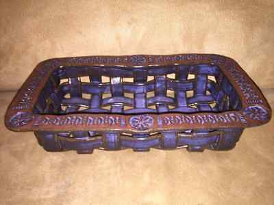 Hawksbill Pottery Hand Crafted Stoneware Woven Bread Basket Weave Excellent!