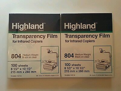 TRANSPARENCY FILM: NEW 2 pks.100 sheets each,804 Med Wgt. BK on Clear, Highland