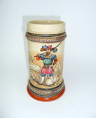 Beer Stein Jug with Saying um 1900 Hand Painted