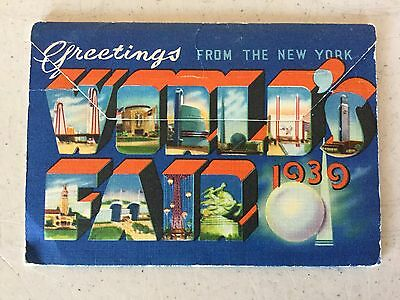 Greetings From The New York Worlds Fair 1939 Original Postcard Book Booklet (O)