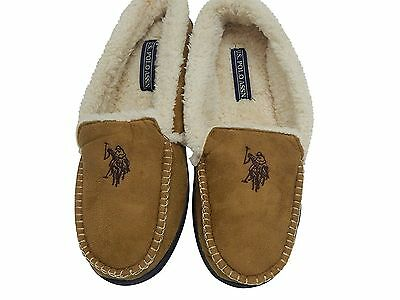 U.S. Polo Assn. Men's Premium Moccasin Slippers Indoor Outdoor New with Box