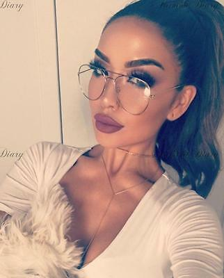 Trendy Oversized Silver Large Metal Aviator Clear Lens Glasses Fashion Blogger