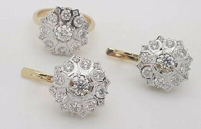 Russian Vintage Style 14K Yellow Gold Diamond Malinka Earrings Ring Jewelry Set