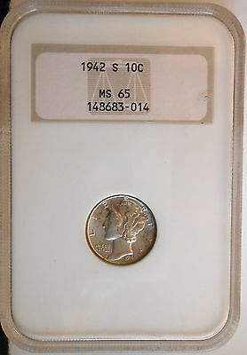 1942-s . Mercury Dime . . . . NGC MS65 . . . . Old Fatty Holder