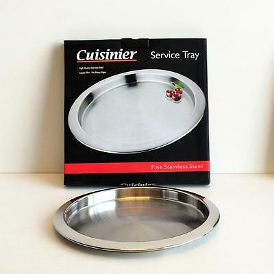 New Cuisinier Fine Quality Stainless Steel Bar Tea Round Serving Tray