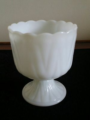 Vintage And Pretty Milk Glass  Pedestal Compote Dish Rare Flame Point Pattern