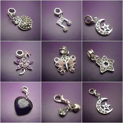 1 Purple or rhinestone clip on charm or European dangle for charm bracelets