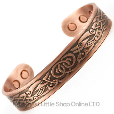 New COPPER MAGNETIC Bracelet VIKING DESIGN 6 Magnets Health Rare Earth NdFeB