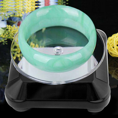 New Solar Showcase 360 Turntable Rotating Jewelry Watch Ring Display Stand LE
