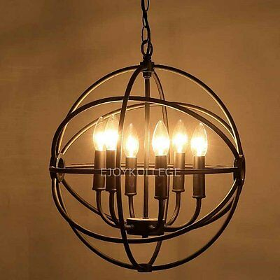 Vintage Industrial Chandelier Orb Wrought Iron Candle Ceiling Pendant Light Lamp
