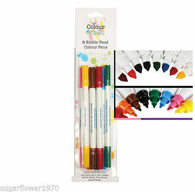 Colour Splash 8 edible food colour pens double sided nib NEXT DAY DESPATCH