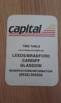 DEFUNCT CAPITAL AIRLINES (LEEDS BASED) 1980's POCKET TIMETABLE