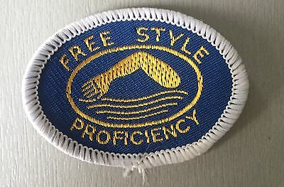 VINTAGE Swimming Badge Patch 80's Blue Free Style Proficiency A.S.A  E.S.S.A