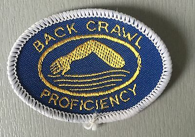 VINTAGE Swimming Badge Patch 80's  Back Crawl Proficiency A.S.A  E.S.S.A