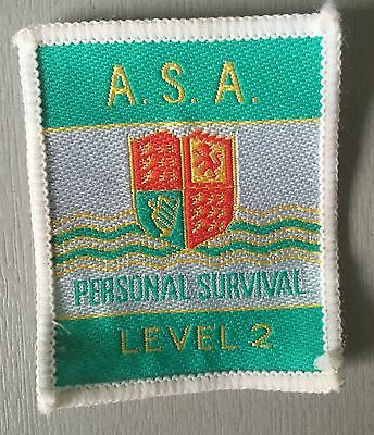 VINTAGE Swimming Badge Patch 80's Turquoise  Personal Survival Level 2 A.S.A