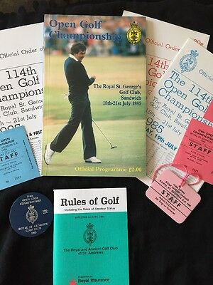 1985 Open Golf Programme Royal St George's Staff Passes /Order Of Play