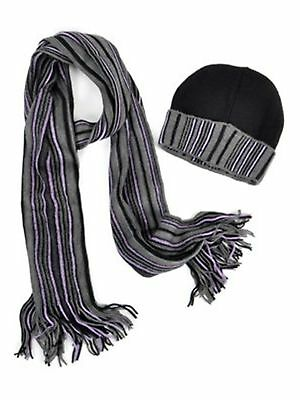 SCFH216 New Unisex Navy And Grey Acrylic Winter Set Scarf And Hat