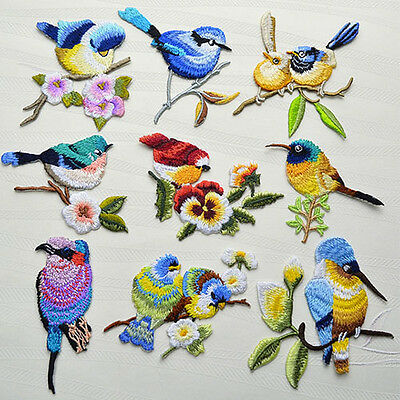 Cute Bird Embroidered Sew Iron On Patches Applique DIY
