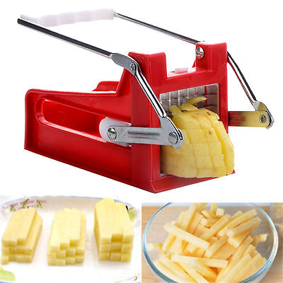 Chipper French Fires Slicer Chip Stainless Potato Cutter 2 Blades Chopper Maker