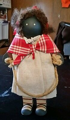 "10"" Black Americana Folk Art Cloth & Wood Rag  Doll Girl Jumping rope"