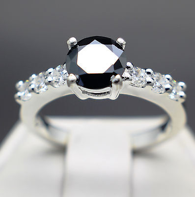 .84cts 6.44mm Natural Black Diamond Ring, Certified AAA Grade & $745 Value
